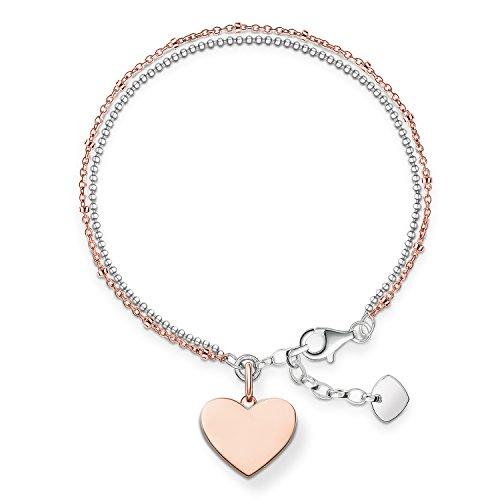 Thomas Sabo Damen-Armband Love Bridge Herz 925 Sterling Silber 750 rosegold vergoldet Länge von 16 bis 19.5 cm LBA0102-415-12-L19,5v