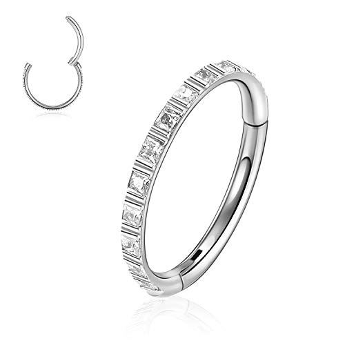 CENGYUN Seamless Nose Ring 16g Rook Hoop Piercing Jewelry with Clear Cubic Zirconia Helix Rook Lobe Earring 316L Stainless Steel Silver 10mm