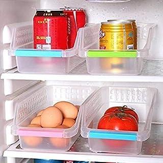 OSHOP® Unbreakable Fridge Space Saver Storage Basket, Under Shelf Drawer for Vegitables, Eggs, Food, Fruit, Storage Piece ...