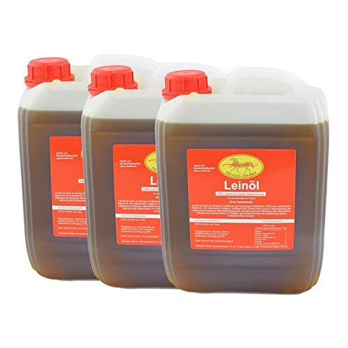 Horse-Direkt Premium Leinöl 30 L (3x10 Liter Kanister) Für Pferde, Hunde & Katzen- Leinsamenöl Kaltgepresst Zum Barfen Für Das Tier - Natürlicher Futterzusatz Zur Unterstützung