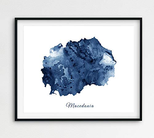Macedonië Aquarel Print Macedonië Kaart Muur Art Macedonië Aquarel Diep Blauw Navy Home Office Decor Reizen Moderne Printbare Kunst