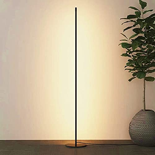 Snowtaros 150cm Standing Floor Lamp, Minimalist Nordic Floor Lamp with Remote Control, 3 Color Temperatures Dimmable Floor Lamps for Living Room Bedroom Office Reading & Decor, 20W (Black)
