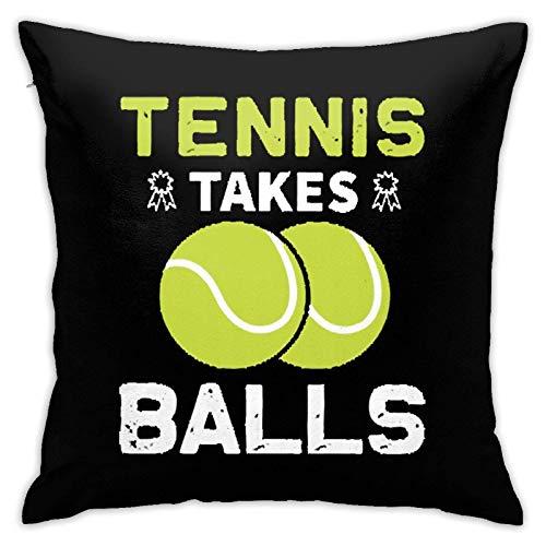 JKSA Fundas de Cojines Decorativos de Tenis con Pelotas para decoración del hogar, sofá, Dormitorio, Coche, 18 x 18 Pulgadas