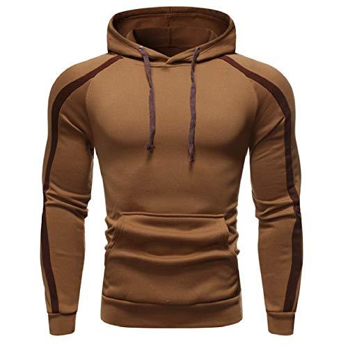 Herren Sport Stretch Hooded - Männer Casual Sweatshirt Bequem Hoody Slim Fit Fitness Hoody Gym Hoodie Gr. Medium, khaki
