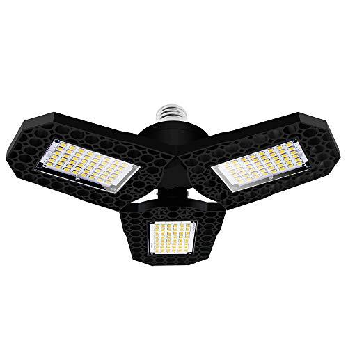Lámpara Garaje LED, VISLONE 60W 6000K Luz de Garaje Deformable con 3 Paneles, Luz de Techo LED Garaje para Garaje, Almacén, Taller, Sótano, Gimnasio
