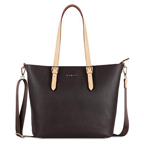 Bugatti Ella Shopper Handtasche Damen Groß, Damenhandtasche Schultertasche – Braun