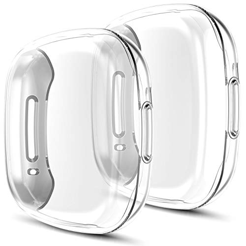 Youmaofa Pellicola Custodia Compatibile con Fitbit Versa 3/Sense Custodia, (3-pezzi) Morbida TPU HD Pieno Protettiva Custodia per Fitbit Versa 3/Sense Smartwatch Cinturini Accessori, Chiaro/Chiaro