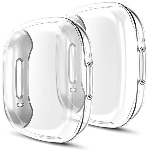 Youmaofa Funda Compatible con Fitbit Versa 3/Sense Protector Pantalla, (4 Paquete) Suave TPU HD Completa Protectora Funda para Fitbit Versa 3/Sense Inteligente Reloj Bandas Accesorios, Claro/Claro