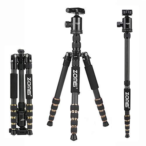 Trípode Cámara ZOMEi Z669C Concept Trípode Fibra de Carbono con Ligero Monopie y Bolsa y Rótula de Bola 360 Grados para Cámara Digital Canon Sony Nikon
