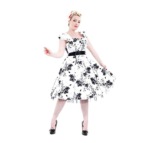 H & R London DRESS Black Flowers Dress White bianco X-Small
