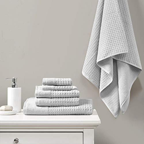 Madison Park 6 Piece 100% Cotton Set for Bathroom, 2 Bath Hand Towels, 2 Washcloths, Spa Luxurious Jacquard Waffle Comb Textured Design, 6 pcs, Grey