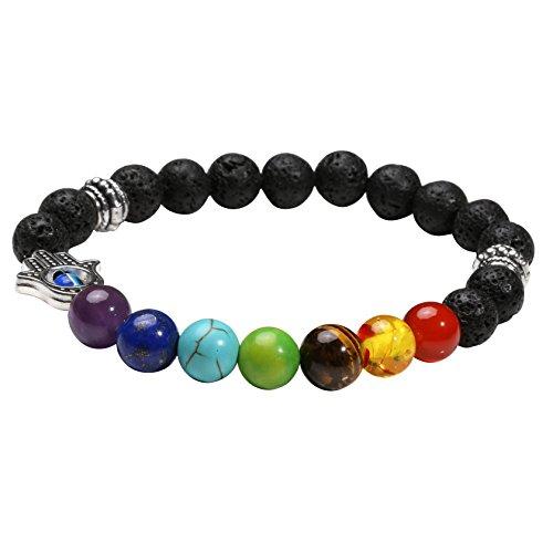 MILAKOO 7 Chakren Lavastein Perlen ätherisches Öl Diffusor Armband mit Hamsa Hand Dekor