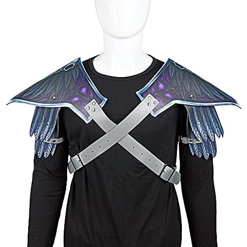 WEMAO Accesorios de disfraces de Cosplay de Halloween Carnaval Mascarada Cuervo Armadura de hombro de cuero-A_38 * 32cm