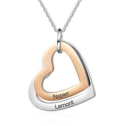 Collana con ciondolo a forma di cuore da donna, in argento, per mamma, nonna, migliore amica, idea regalo, personalizzabile e Acciaio inossidabile