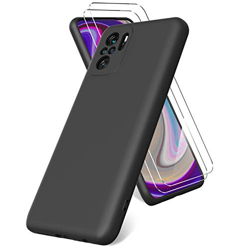 Vansdon Cover per Xiaomi Redmi Note 10 4G/ Note 10s, 2 Pellicola Protettiva in Vetro Temperato, Gomma Gel di Silicone Liquida Antiurto Custodia - Nero
