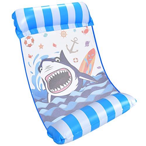 WERNNSAI Aufblasbares Schwimmbett für Erwachsene - Haifisch Loungesessel Pool Lounge Wasser Hängematte Blau Luftmatratze schwimm Lounge poolmatratze