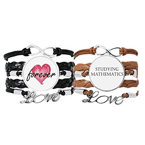Bestchong Armband mit kurzem Spruch zum Lernen von Mathematik, Handschlaufe, Lederseil, Forever Love, Doppel-Set