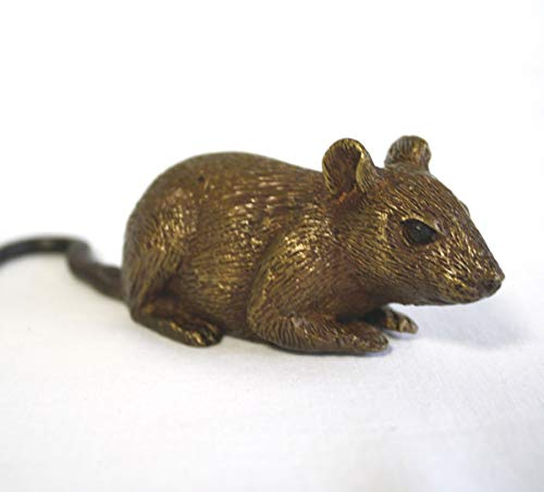 H. Packmor GmbH Bronzefigur lebensechte kleine Maus Nagetier Gartendekoration Braun - 13x4x4 cm