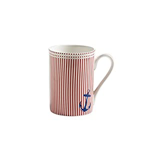 Maxwell & Williams S88001 Nautical Becher, Kaffeebecher, Tasse, rot gestreift, in Geschenkbox, Porzellan