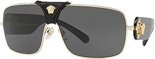 نظارة فيرزاتشي سكويرد باروك VE 2207Q 100287 ذهبية سوداء جلد معدنية مربعة عدسات رمادية