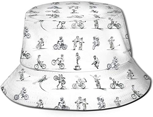 Unisex Breathable Print Popcorn Bucket Hat, Outdoor Fisherman Sun Cap Wide Brim for Women Men Teens-Mountain Bike