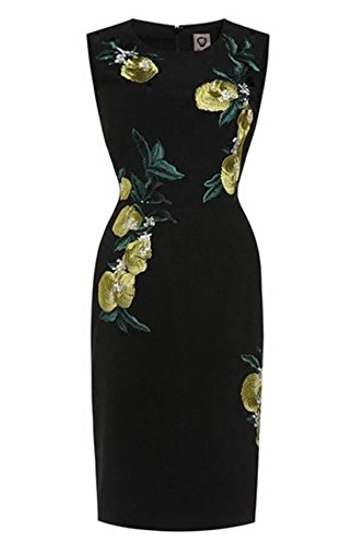 柑橘 モチーフ 刺繍 ノースリーブ ワンピース ショートドレス (M)