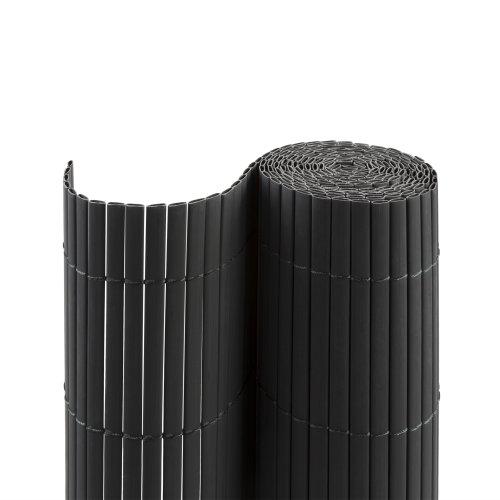 jarolift PVC Sichtschutzmatte Standard Sichtschutz Garten Balkon Terrasse Sichtschutzzaun Balkonverkleidung Zaunblende, 90 x 800 cm, 2 Matten je 2 x 4m Länge, Grau