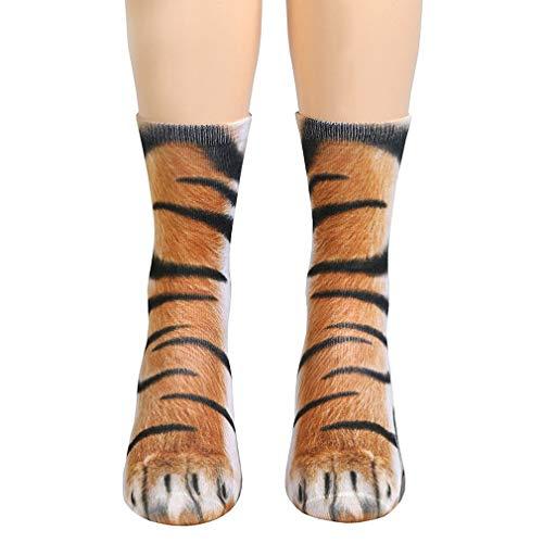 Beito Unisex Lustige Tiertatzen-muster Trifft 3d Neuheit Graphic Tiger Tier Feet Print Crew Socken Für Männer Frauen