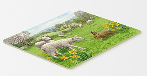 "Caroline's Treasures ASA2179CMT Lambs, Sheep and Rabbit Hare Kitchen or Bath Mat, 20 by 30"", Multicolor"