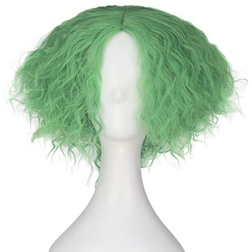 Synthetic Short Kinky Curly Hair Men Boy Center Party Cosplay Costume Wig Halloween Party (Lawngreen)