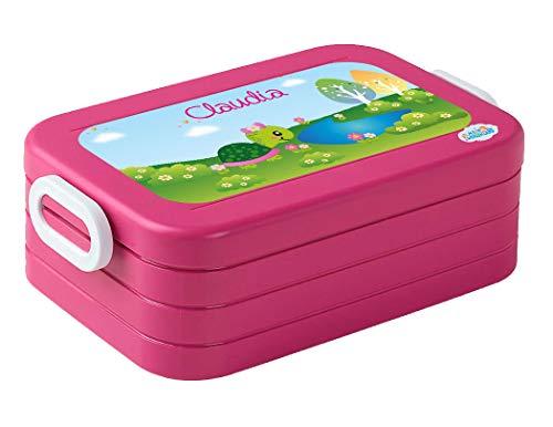 *Mein Zwergenland Lunchbox Mepal Maxi Take A Break midi Brotdose mit eigenem Namen Pink, Schildkröte*