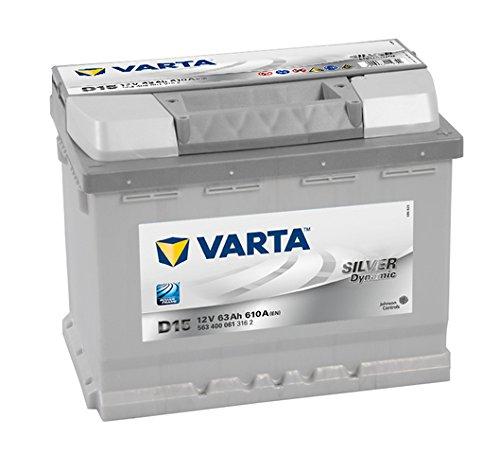Varta Silver Dynamic D15 Batterie Voitures, 12 V 63Ah 610 Amps (En)