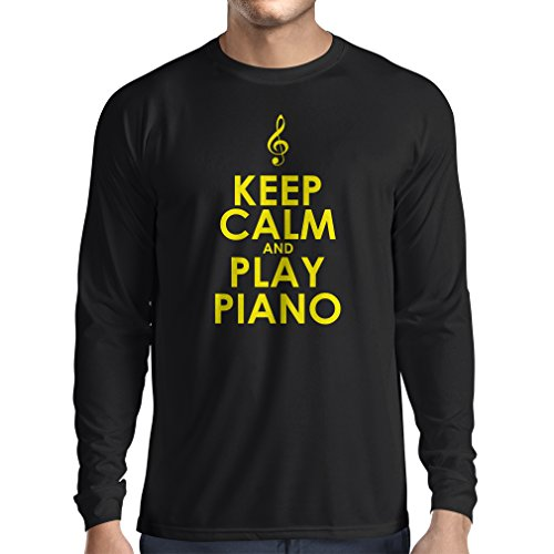 lepni.me Camiseta de Manga Larga para Hombre Mantén la Calma y Toca el Piano, para los Amantes de la música, Pianista de Regalo (Small Negro Amarillo)