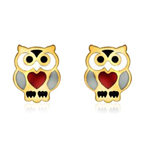 TJC 9ct Yellow Gold Owl Stud Earrings Best Gift for Children's or Kids