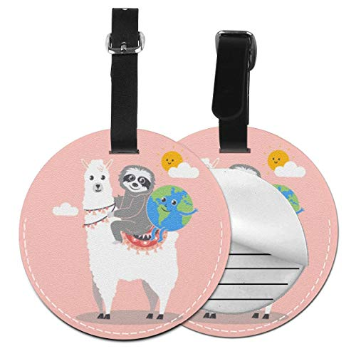 Luggage Tag PU Leather Bag Tag Travel Suitcases ID Identifier Baggage Label Sloth Llama Earth Day Idea Fun