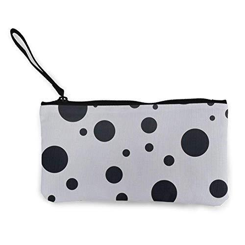 XCNGG Monederos Bolsa de Almacenamiento Shell Avant Garde Art Black Dots Canvas Coin Purse with Zipper Coin Wallet Multi-Function Small Purse Cosmetic Bags For Women Men