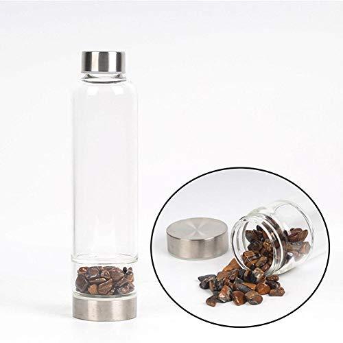 Quarzkristall-Wasserflasche - 550ML Edelstein-Energie-Wasserflasche zur Herstellung von mit Kristall infundiertem Edelwasser, Hydrotherapie-Tasse Mit Edelsteinen und Bechersets