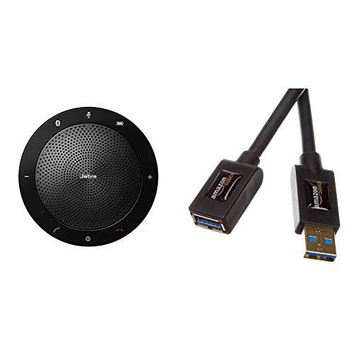 Jabra Speak 510 Bluetooth Freisprecheinrichtung (Mobile Konferenzlösung -Kommunikation, einfach mit dem PC) & AmazonBasics USB 3.0-Verlängerungskabel 3 m
