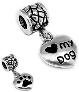 1 Sterling Silver Murano Glass Charm Puppy & Kitten Paw Bead Fit Pandora Chamilia Biagi Charms Bracelet (Authentic 925)