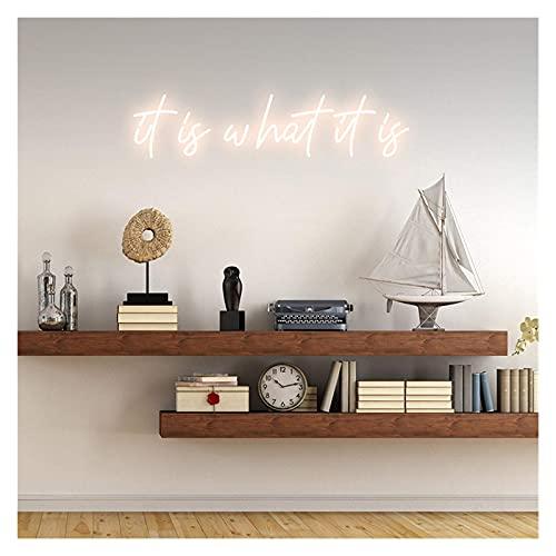 Es lo que son los signos de neón. Signo de texto de neón hecho a mano personalizado para arte de pared, dormitorio, fiesta de bodas, decoración navideña. (Color : Warm White)