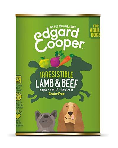 Edgard & Cooper Comida humeda Perros Adultos sin Cereales, Natural con Cordero y Ternera. Alimentación balanceada y Sana con proteinas y aminoácidos. Carne 100{54674667f11d2bf74a268b15938bc1a9c07f25775307bce706688f5d73463756} Fresca. Pack de 6x400gr