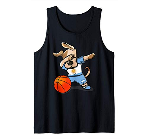 Dabbing Dog Perro Baloncesto Argentina - Bandera Argentina Camiseta sin Mangas