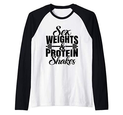 Weights And Protein Shakes Raglan Baseball Tee
