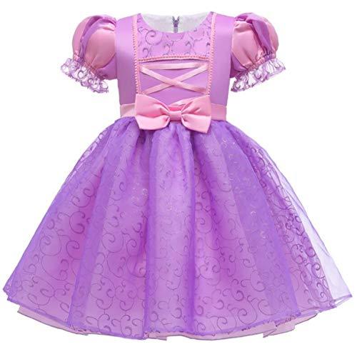 EMIN Costume di Rapunzel Ragazze Vestito Abbigliamento Abito da Principessa Costume Sofia Manica a Sbuffo Principessa Vestito Bambine e