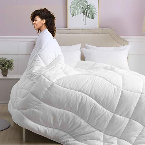 Oaken-Cat White Down Alternative Comforter Queen - All Seasons Ultra-Soft Plush Fabric, 300gsm Microfiber Body-Shape Quilted Medium Warm Duvet Insert