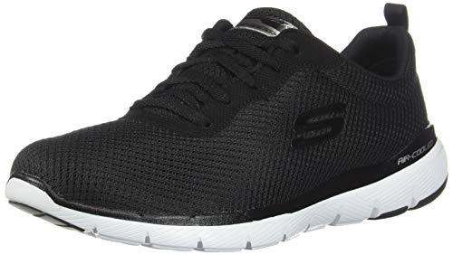 Skechers Flex Appeal 3.0-First Insight, Zapatillas Mujer, Negro (BKW Black Mesh/Trim), 38 EU
