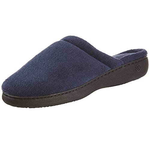 isotoner Women's TerrySlip On Clog Slipper with Memory Foam for Indoor/Outdoor Comfort, Navy Rounded, 8.5-9