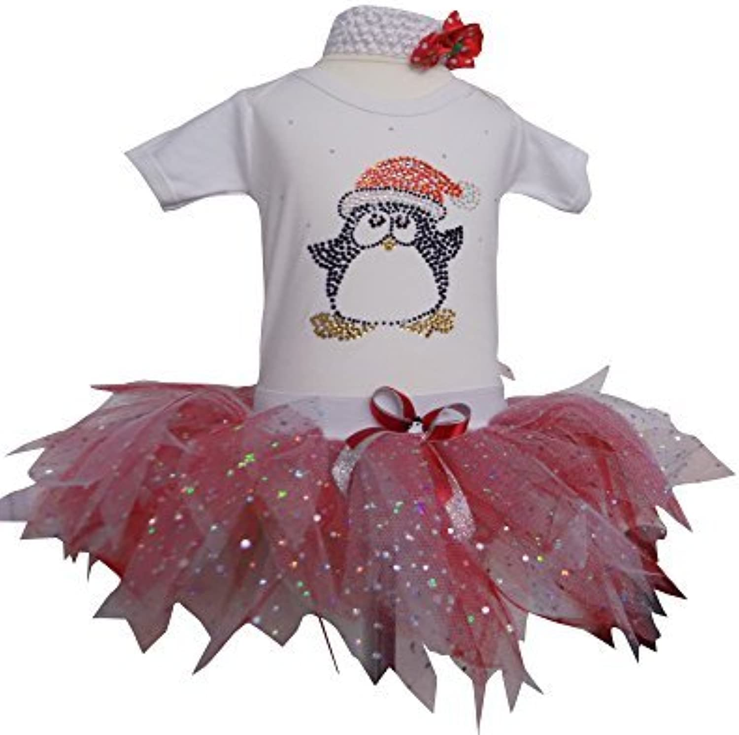 Girls Sparkle Penguin Christmas Baby Tutu Set (6-12 Mths)