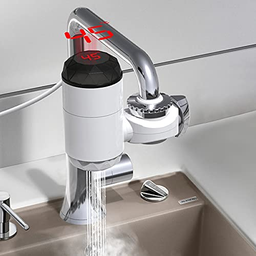 3000W Elektrisch LED Wasserhahn Sofort Heizung Durchlauferhitzer Armatur Spültis in Haushalt Weiß Badezimmer Küche Neutraler Installationsfreier, Schnelles Aufheizen 3 Sekunden