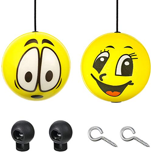 2 Sets Double Garage Parking Aids, Includes 2 Pieces Parking Assist Balls Retractable Parking Balls, 2 Pieces Plastic Cord Locks and 2 Pieces Screw Hooks Garage Parking Indicators for Car Parking